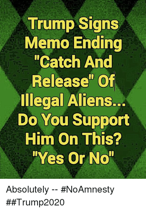 """Memes, Aliens, and Trump: Trump Signs  Memo Ending  """"Catch And  Release"""" Of  Illegal Aliens.  Do You Support  Him On This?  Yes Or No Absolutely -- #NoAmnesty ##Trump2020"""