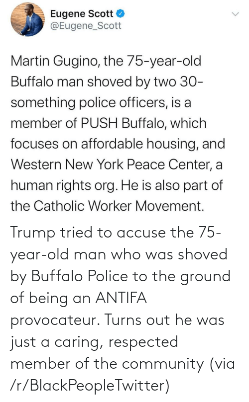 Old: Trump tried to accuse the 75-year-old man who was shoved by Buffalo Police to the ground of being an ANTIFA provocateur. Turns out he was just a caring, respected member of the community (via /r/BlackPeopleTwitter)