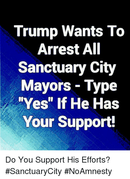 "Memes, Trump, and 🤖: Trump Wants To  Arrest AI  Sanctuary City  Mayors- Type  Yes"" If He Has  Your Support! Do You Support His Efforts? #SanctuaryCity #NoAmnesty"