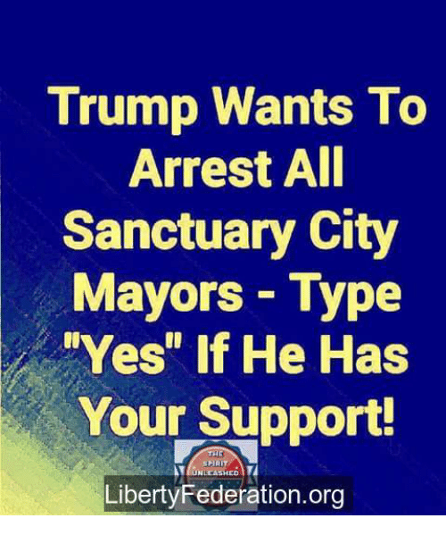 "Memes, Trump, and 🤖: Trump Wants To  Arrest All  Sanctuary City  Mayors- Type  Yes"" If He Has  Your Support!  LibertyFederation.org"