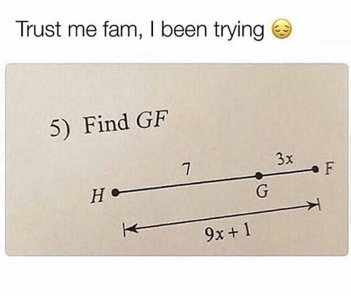 Fam, Been, and Trust Me: Trust me fam, I been trying  5) Find GF  3x  F  Не  G  9x+ 1