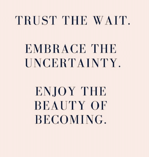 embrace: TRUST THE WAIT  EMBRACE THE  UNCERΤΑΙΝTΥ.  ΕNJOY ΤHE  BEAUTY OF  BECOMING