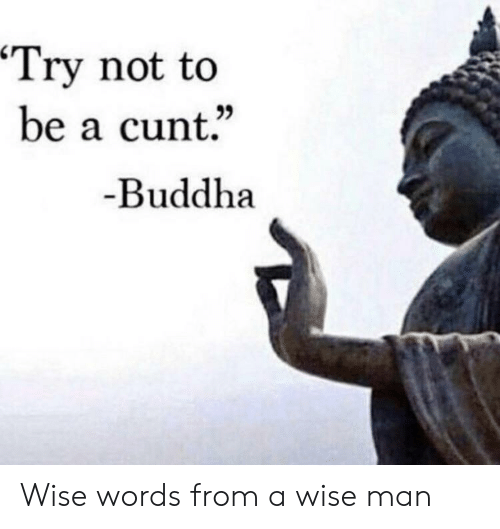 """Buddha, Cunt, and Dank Memes: Try not to  be a cunt.""""  Buddha Wise words from a wise man"""