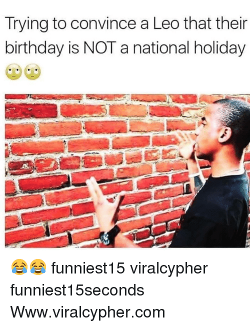 Birthday, Funny, and Com: Trying to convince a Leo that their  birthday is NOT a national holiday 😂😂 funniest15 viralcypher funniest15seconds Www.viralcypher.com