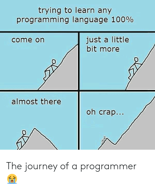 Journey: trying to learn any  programming language 100%  just a little  bit more  come on  almost there  oh crap... The journey of a programmer 😭