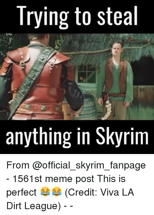 meme post: Trying to steal  anything in Skyrim From @official_skyrim_fanpage - 1561st meme post This is perfect 😂😂 (Credit: Viva LA Dirt League) - -