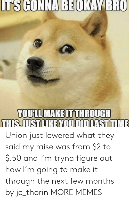 Dank, Memes, and Target: TS GONNA BEOKAY BRO  YOU'LL MAKE IT THROUGH  THIS JUST LIKE YOU DID LAST TIME Union just lowered what they said my raise was from $2 to $.50 and I'm tryna figure out how I'm going to make it through the next few months by jc_thorin MORE MEMES