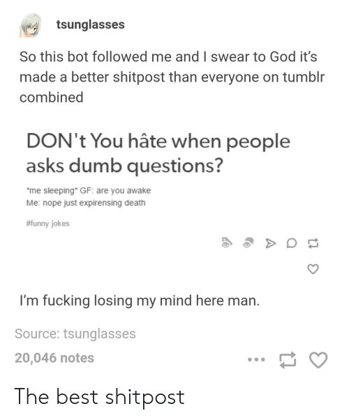 funny jokes: tsunglasses  So this bot followed me and I swear to God it's  made a better shitpost than everyone on tumblr  combined  DON't You hâte when people  asks dumb questions?  me sleeping* GF: are you awake  Me: nope just expirensing death  #funny jokes  I'm fucking losing my mind here man.  Source: tsunglasses  20,046 notes The best shitpost