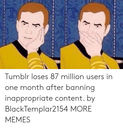 Dank, Memes, and Target: Tumblr loses 87 million users in one month after banning inappropriate content. by BlackTemplar2154 MORE MEMES
