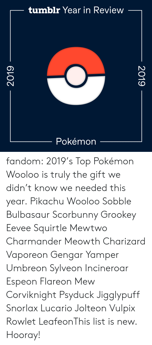 Bulbasaur, Charmander, and Gif: tumblr Year in Review  Pokémon  2019  2019 fandom:  2019's Top Pokémon  Wooloo is truly the gift we didn't know we needed this year.  Pikachu  Wooloo  Sobble  Bulbasaur  Scorbunny  Grookey  Eevee  Squirtle  Mewtwo  Charmander  Meowth  Charizard  Vaporeon  Gengar  Yamper  Umbreon  Sylveon  Incineroar  Espeon  Flareon  Mew  Corviknight  Psyduck  Jigglypuff  Snorlax  Lucario  Jolteon  Vulpix  Rowlet  LeafeonThis list is new. Hooray!