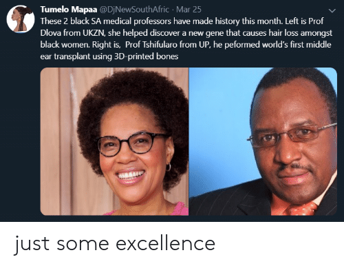Bones, Black, and Discover: Tumelo Mapaa @DjNewSouthAfric Mar 25  These 2 black SA medical professors have made history this month. Left is Prof  Dlova from UKZN, she helped discover a new gene that causes hair loss amongst  black women. Right is, Prof Tshifularo from UP, he peformed world's first middle  ear transplant using 3D-printed bones  ent be just some excellence