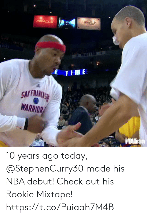 Mixtape: tuomcon  ORACLE  20NE  MONGNS M  E THE  SMFRAMOSS  WARRIOR  ONBAHistory 10 years ago today, @StephenCurry30 made his NBA debut!   Check out his Rookie Mixtape!   https://t.co/Puiaah7M4B