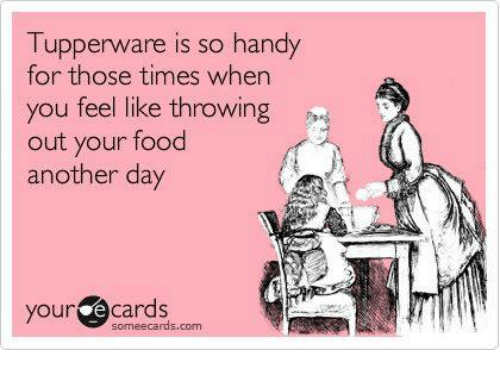 Some Ecard: Tupperware is so handy  for those times when  you feel like throwing  out your food  another day  your e Cards  some ecards com