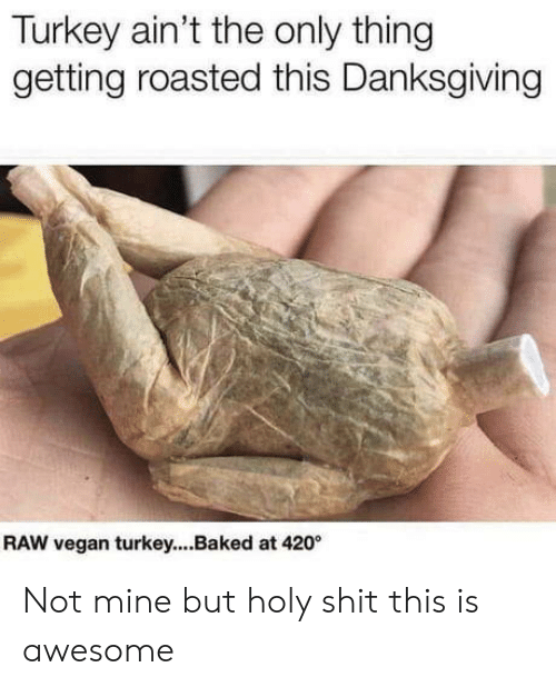 Baked: Turkey ain't the only thing  getting roasted this Danksgiving  RAW vegan turkey...Baked at 420 Not mine but holy shit this is awesome