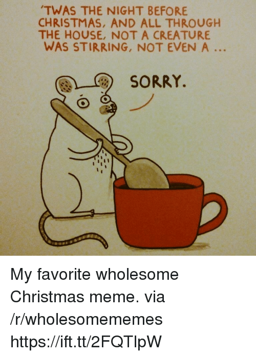 christmas meme: TWAS THE NIGHT BEFORE  CHRISTMAS, AND ALL THROUGH  THE HOUSE, NOT A CREATURE  WAS STIRRING, NOT EVEN A  SORRY. My favorite wholesome Christmas meme. via /r/wholesomememes https://ift.tt/2FQTlpW