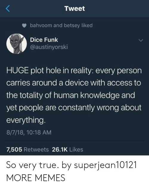 Plot Holes: Tweet  bahvoom and betsey liked  Dice Funk  @austinyorski  HUGE plot hole in reality: every person  carries around a device with access to  the totality of human knowledge and  yet people are constantly wrong about  everything  8/7/18, 10:18 AM  7,505 Retweets 26.1K Likes So very true. by superjean10121 MORE MEMES