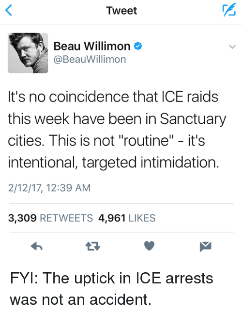 "Memes, 🤖, and Raid: Tweet  Beau Willimon  @Beau Willimon  It's no coincidence that ICE raids  this week have been in Sanctuary  cities. This is not ""routine  II  it's  intentional, targeted intimidation.  2/12/17, 12:39 AM  3,309  RETWEETS 4,961  LIKES FYI: The uptick in ICE arrests was not an accident."