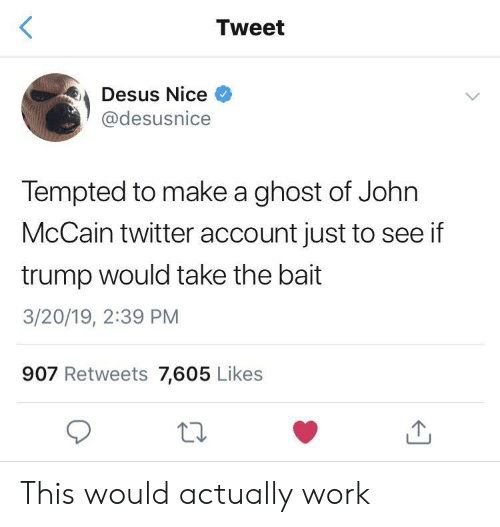 Twitter, Work, and Ghost: Tweet  Desus Nice  @desusnice  Tempted to make a ghost of John  McCain twitter account just to see if  trump would take the bait  3/20/19, 2:39 PM  907 Retweets 7,605 Likes This would actually work