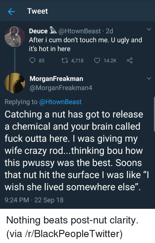 "Blackpeopletwitter, Crazy, and Cum: Tweet  Deuce@HtownBeast 2d  After i cum don't touch me. U ugly and  it's hot in here  85  4,718  14.2K  MorganFreakman  @MorganFreakman4  Replying to @HtownBeast  Catching a nut has got to release  a chemical and vour brain called  fuck outta here. I was giving my  wife crazy rod...thinking bou how  this pwussy was the best. Soons  that nut hit the surface I was like ""I  wish she lived somewhere else  9:24 PM 22 Sep 18 Nothing beats post-nut clarity. (via /r/BlackPeopleTwitter)"