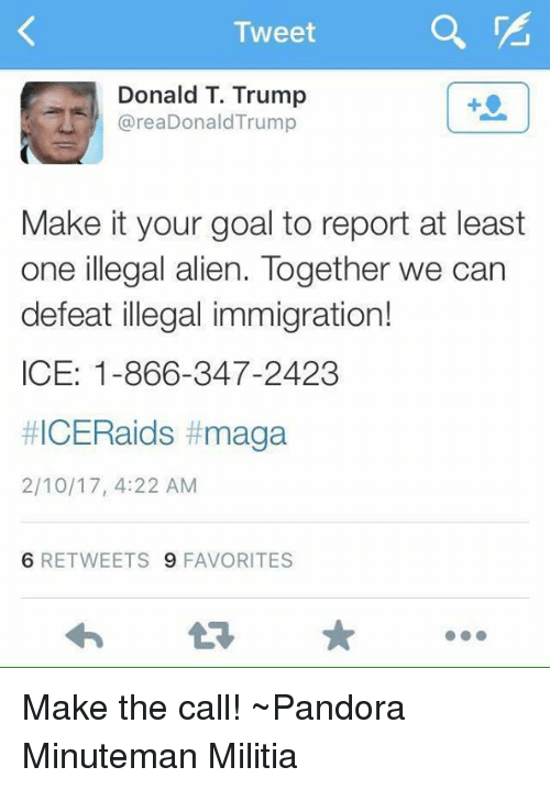 Illegal Alien: Tweet  Donald T. Trump  area Donald Trump  Make it your goal to report at least  one illegal alien. Together we can  defeat illegal immigration!  ICE: 1-866-347-2423  #ICERaids t maga  2/10/17, 4:22 AM  6 RETWEETS 9 FAVORITES Make the call!  ~Pandora   Minuteman Militia