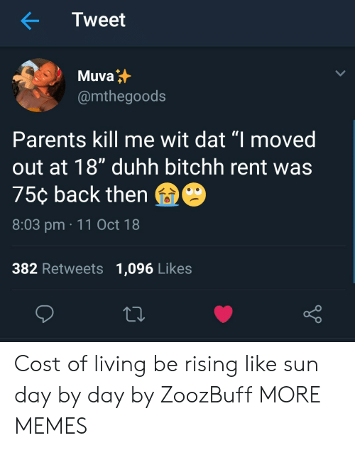 "Dank, Memes, and Parents: Tweet  Muva  @mthegoods  Parents kill me wit dat ""I moved  out at 18"" duhh bitchh rent was  75¢ back then  8:03 pm 11 Oct 18  382 Retweets 1,096 Likes Cost of living be rising like sun day by day by ZoozBuff MORE MEMES"