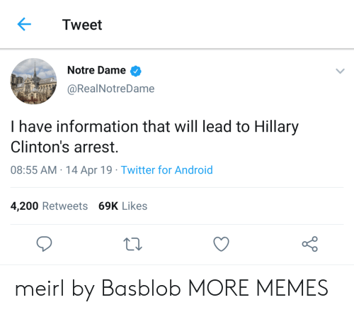 hillary: Tweet  Notre Dame  @RealNotreDame  I have information that will lead to Hillary  Clinton's arrest.  08:55 AM 14 Apr 19 Twitter for Android  4,200 Retweets 69K Likes meirl by Basblob MORE MEMES