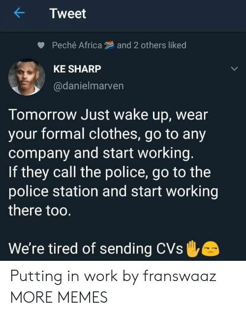 Africa, Clothes, and Dank: Tweet  Peché Africa  and 2 others liked  KE SHARP  @danielmarven  Tomorrow Just wake up, wear  your formal clothes, go to any  company and start working.  If they call the police, go to the  police station and start working  there too.  We're tired of sending CVs Putting in work by franswaaz MORE MEMES