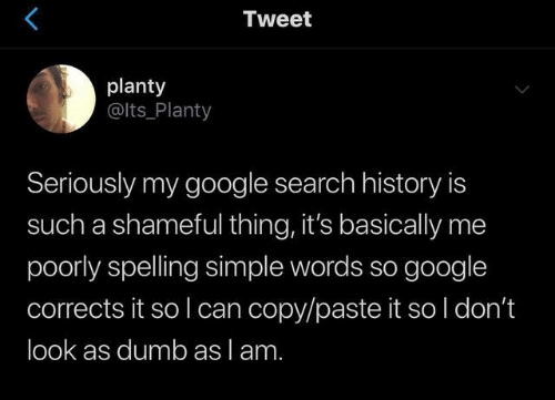 Paste: Tweet  planty  @lts_Planty  Seriously my google search history is  such a shameful thing, it's basically me  poorly spelling simple words so google  corrects it so I can copy/paste it so l don't  look as dumb as lam.