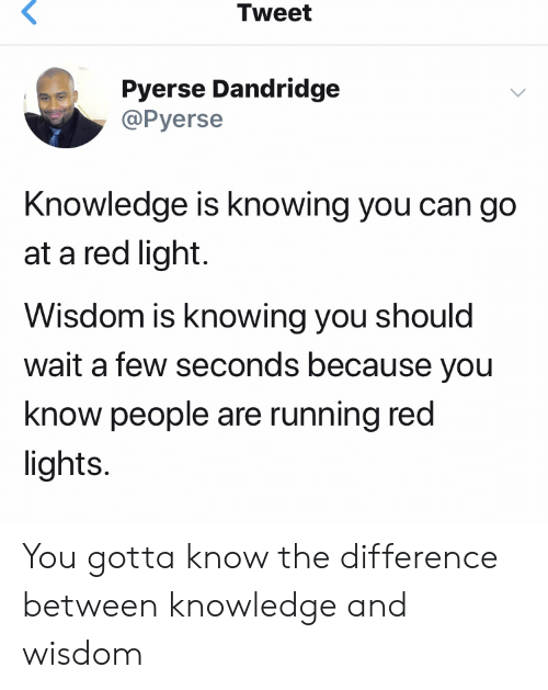 Blackpeopletwitter, Funny, and Knowledge: Tweet  Pyerse Dandridge  @Pyerse  Knowledge is knowing you can go  at a red light  Wisdom is knowing you should  wait a few seconds because you  know people are running red  lights You gotta know the difference between knowledge and wisdom