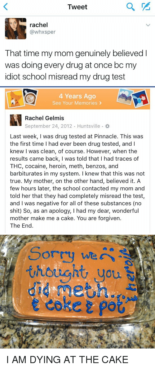 Cocaines: Tweet  rachel  (a whxsper  That time my mom genuinely believed  was doing every drug at once bc m  idiot school misread my drug test   4 Years Ago  See Your Memories  Rachel Gelmis  September 24, 2012. Huntsville  Last week, I was drug tested at Pinnacle. This was  the first time had ever been drug tested, and l  knew I was clean, of course. However, when the  results came back, I was told that I had traces of  THC, cocaine, heroin, meth, benzos, and  barbiturates in my system. I knew that this was not  true. My mother, on the other hand, believed it. A  few hours later, the school contacted my mom and  told her that they had completely misread the test,  and was negative for all of these substances (no  shit) So, as an apology, I had my dear, wonderful  mother make me a cake. You are forgiven.  The End   Sorry we  thought you I AM DYING AT THE CAKE