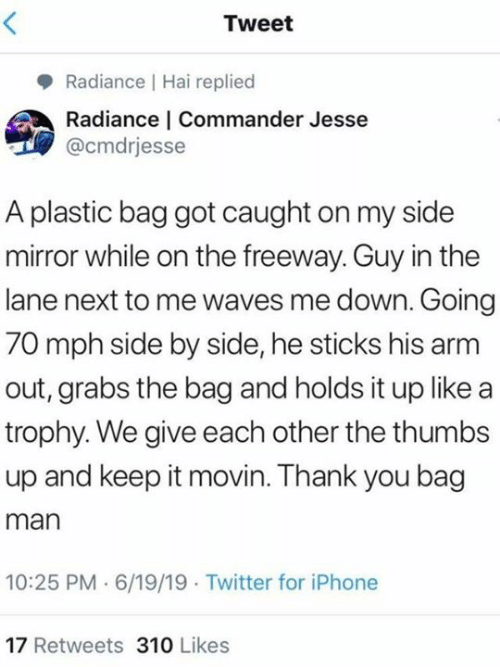 Grabs: Tweet  Radiance Hai replied  Radiance | Commander Jesse  @cmdrjesse  A plastic bag got caught on my side  mirror while on the freeway. Guy in the  lane next to me waves me down. Going  70 mph side by side, he sticks his arm  out, grabs the bag and holds it up like a  trophy. We give each other the thumbs  up and keep it movin. Thank you bag  man  10:25 PM 6/19/19 Twitter for iPhone  17 Retweets 310 Likes