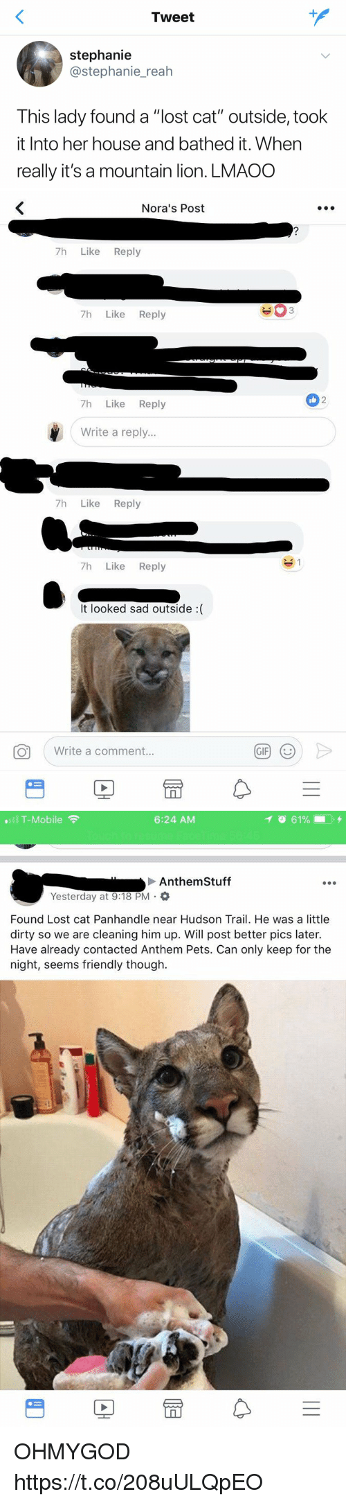 "Lost Cat: Tweet  stephanie  @stephanie_reah  This lady found a ""lost cat"" outside, took  it Into her house and bathed it. When  really it's a mountain lion. LMAOO   Nora's Post  7h Like Reply  7h Like Reply  2  7h Like Reply  Write a reply...  7h Like Reply  7h Like Reply  It looked sad outside :(  Write a comment.  GIF   .111 T-Mobile令  6:24 AM  イ  61%- . +  Anthem Stuff  Yesterday at 9:18 PM .  Found Lost cat Panhandle near Hudson Trail. He was a little  dirty so we are cleaning him up. Will post better pics later.  Have already contacted Anthem Pets. Can only keep for the  night, seems friendly though.  PE OHMYGOD https://t.co/208uULQpEO"
