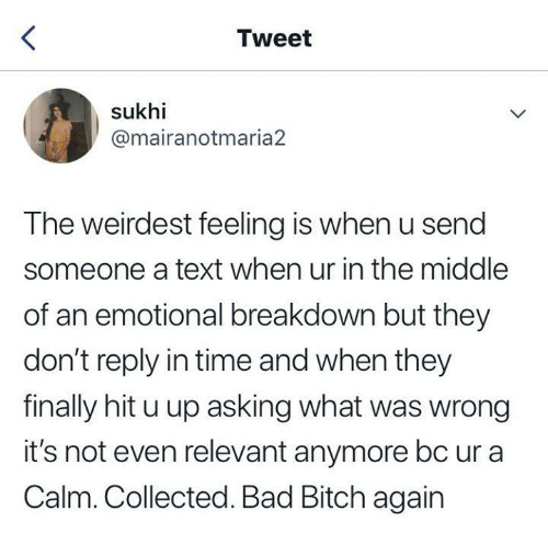 u up: Tweet  sukhi  @mairanotmaria2  The weirdest feeling is when u send  someone a text when ur in the middle  of an emotional breakdown but they  don't reply in time and when they  finally hit u up asking what was wrong  it's not even relevant anymore bc ur a  Calm. Collected. Bad Bitch again