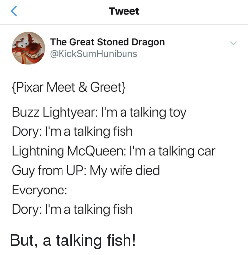 Buzz Lightyear: Tweet  The Great Stoned Dragon  @KickSumHunibuns  Pixar Meet & Greet}  Buzz Lightyear: I'm a talking toy  Dory: l'm a talking fish  Lightning McQueen: I'm a talking car  Guy from UP: My wife died  Everyone  Dory: Im a talking fish But, a talking fish!