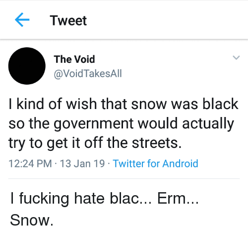 Android, Fucking, and Streets: Tweet  The Void  @VoidTakesAll  I kind of wish that snow was black  so the government would actually  try to get it off the streets.  12:24 PM-13 Jan 19 Twitter for Android