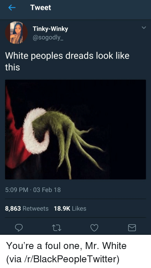 dreads: Tweet  Tinky-Winky  @sogodly_  White peoples dreads look like  this  5:09 PM-03 Feb 18  8,863 Retweets 18.9K Likes <p>You&rsquo;re a foul one, Mr. White (via /r/BlackPeopleTwitter)</p>