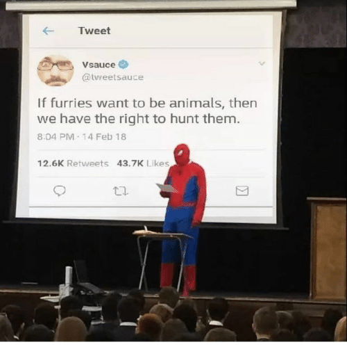 Animals, Tweet, and Furries: Tweet  Vsauce  @tweetsauce  If furries want to be animals, then  we have the right to hunt them  8:04 PM 14 Feb 18  12.6K Retweets 43.7K Likes