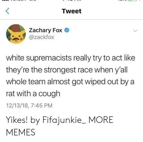 wiped: Tweet  Zachary Fox  @zackfox  white supremacists really try to act like  they're the strongest race when y'all  whole team almost got wiped out by a  rat with a cough  12/13/18, 7:45 PM Yikes! by Fifajunkie_ MORE MEMES