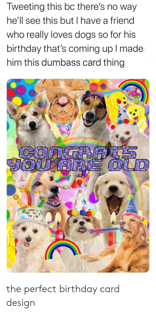 Card Design: Tweeting this bc there's no way  he'll see this but I have a friend  who really loves dogs so for his  birthday that's coming up I made  him this dumbass card thing  CONGRRS  HAPPY  BIR HD Y  TO ME the perfect birthday card design
