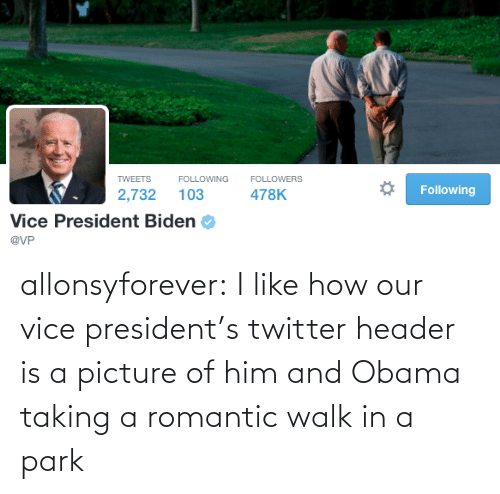 President Biden: TWEETS  FOLLOWERS  FOLLOWING  Following  478K  2,732  103  Vice President Biden  @VP allonsyforever:  I like how our vice president's twitter header is a picture of him and Obama taking a romantic walk in a park
