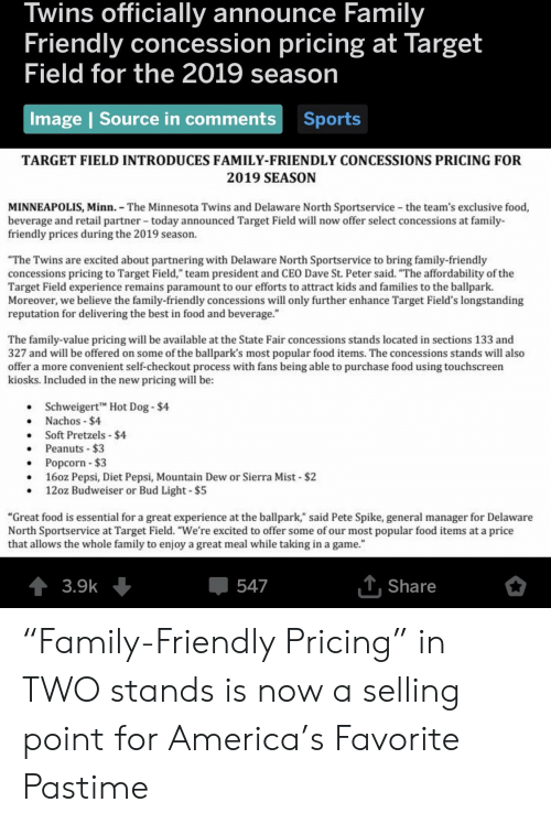 """America, Family, and Food: Twins officially announce Family  Friendly concession pricing at Target  eld for the 2019 season  Fi  Image 