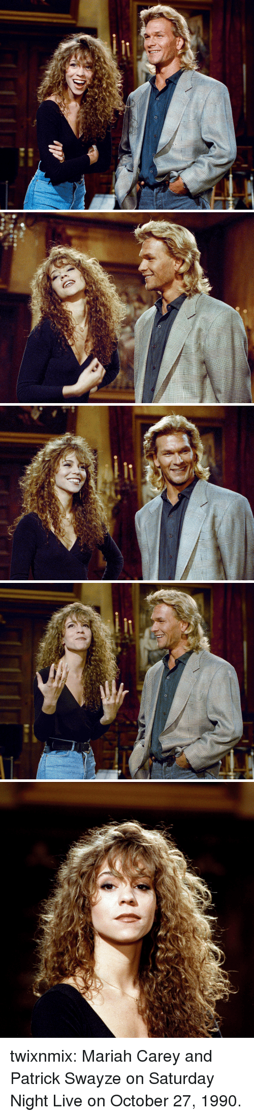 Saturday Night Live: twixnmix:  Mariah Carey and Patrick Swayze on Saturday Night Live on October 27, 1990.