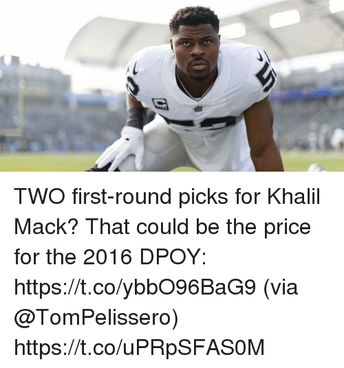 Memes, 🤖, and Via: TWO first-round picks for Khalil Mack?  That could be the price for the 2016 DPOY: https://t.co/ybbO96BaG9 (via @TomPelissero) https://t.co/uPRpSFAS0M