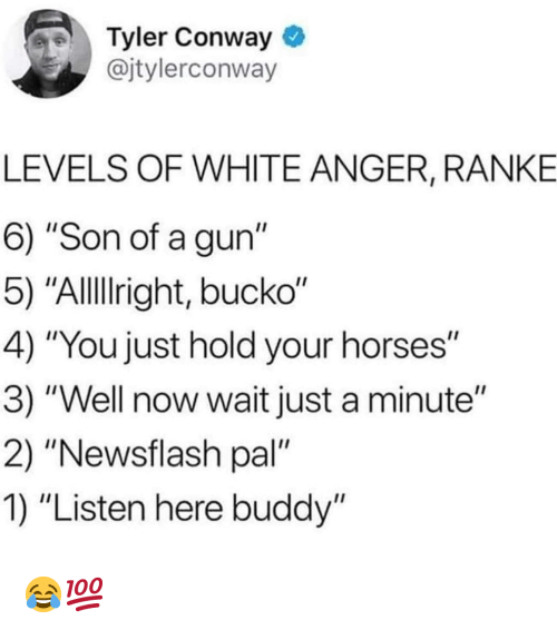 "Conway, Funny, and Horses: Tyler Conway  @jtylerconway  LEVELS OF WHITE ANGER, RANKE  6) ""Son of a gun""  5) ""Allllright, bucko""  4) ""You just hold your horses""  3) ""Well now wait just a minute""  2) ""Newsflash pal""  1) ""Listen here buddy"" 😂💯"