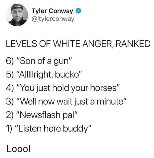 "Bucko: Tyler Conway *  @jtylerconway  LEVELS OF WHITE ANGER, RANKED  6) ""Son of a gun""  5) ""Alllright, bucko""  4) ""You just hold your horses""  3) ""Well now wait just a minute""  2) ""Newsflash pal""  1) ""Listen here buddy"" Loool"