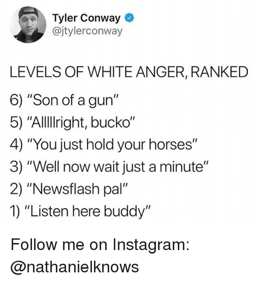 "Conway, Horses, and Instagram: Tyler Conway  @jtylerconway  LEVELS OF WHITE ANGER, RANKED  6) ""Son of a gun""  5) ""Allllright, bucko""  4) ""You just hold your horses""  3) ""Well now wait just a minute""  2) ""Newsflash pal""  1) ""Listen here buddy"" Follow me on Instagram: @nathanielknows"