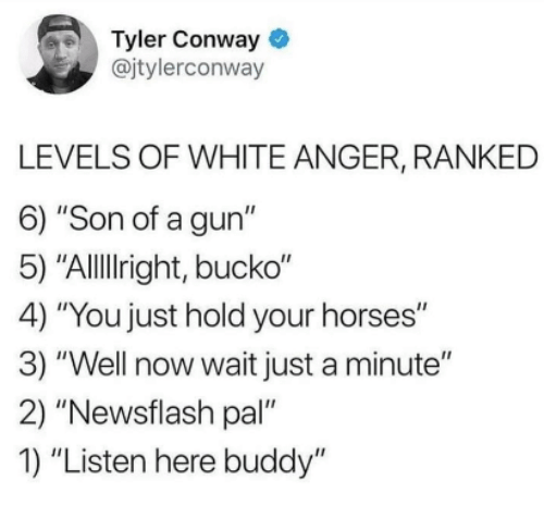 "Bucko: Tyler Conway  @jtylerconway  LEVELS OF WHITE ANGER, RANKED  6) ""Son of a gun""  5) ""Allllright, bucko""  4) ""You just hold your horses""  3) ""Well now wait just a minute""  2) ""Newsflash pal""  1) ""Listen here buddy"""