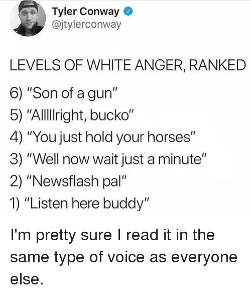 "Bucko: Tyler Conway  @jtylerconway  LEVELS OF WHITE ANGER, RANKED  6) ""Son of a gun""  5) ""Allllright, bucko""  4) ""You just hold your horses""  3) ""Well now wait just a minute""  2) ""Newsflash pal""  1) ""Listen here buddy"" I'm pretty sure I read it in the same type of voice as everyone else."