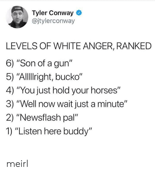 "Bucko: Tyler Conway  @jtylerconway  LEVELS OF WHITE ANGER, RANKED  6) ""Son of a gun""  5) ""Allllright, bucko""  4) ""You just hold your horses""  3) ""Well now wait just a minute""  2) ""Newsflash pal  1) ""Listen here buddy"" meirl"