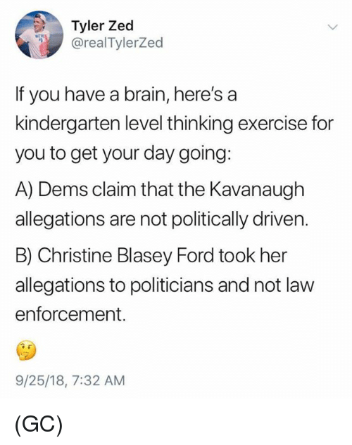 Politically: Tyler Zed  @realTylerZed  If you have a brain, here's a  kindergarten level thinking exercise for  you to get your day going:  A) Dems claim that the Kavanaugh  allegations are not politically driven.  B) Christine Blasey Ford took her  allegations to politicians and not law  enforcement.  9/25/18, 7:32 AM (GC)